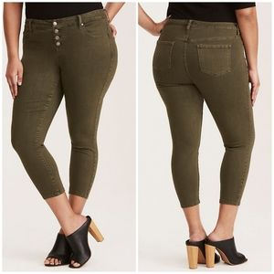 Torrid Ultra Skinny Cropped Jeans Dusty Olive 10